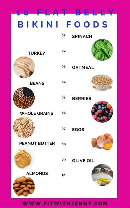 10 bikini season flat belly foods